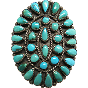 1930's Vintage Zuni Native American Petit-Point And Snake-Eye Turquoise Ring