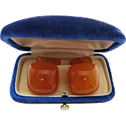 Antique Silver And Butterscotch Baltic Amber Cufflinks In Original Fitted Box