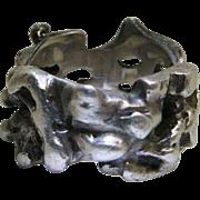 Vintage Modernist / Brutalist Sterling Silver Ring Size 7.5 - 15.8 Grams