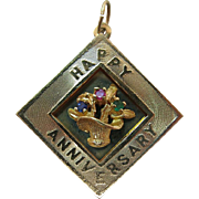 Large 1960's Vintage Jeweled 14K Yellow Gold Happy Anniversary Shadowbox Charm / Pendant With