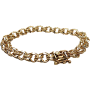 1960's Vintage Heavy 14K Yellow Gold Double Curb Link Charm Bracelet