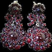 Lovely Antique Bohemian Garnet Dangle Earrings With Bows