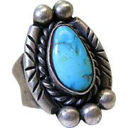 Vintage Navajo Sterling Silver And Turquoise Ring Signed Jefferson James