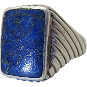 Vintage Retro Era Sterling Silver And Lapis Ring Size 12