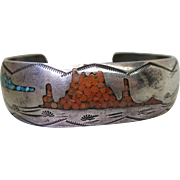 "Vintage Inlaid Navajo Ingot Silver Cuff Bracelet Signed ""Bee"" Gay"