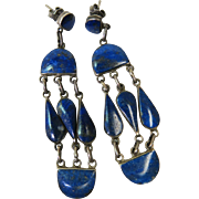 Elegant Vintage 2 5/8-Inch Sterling Silver And Lapis Chandelier Earrings