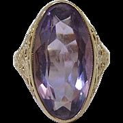 Art Deco Vintage 14K Yellow Gold Filigree Six Carat Amethyst Ring