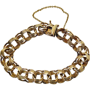 Vintage 14K Yellow Gold Triple Curb Link Bracelet / Charm Bracelet