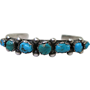 """Vintage Navajo Stamped Silver And Turquoise Cuff Bracelet Signed """"N Mex"""""""