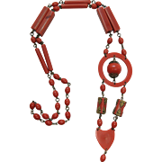 1930's Vintage 36-Inch Coral Red Celluloid Pendant Necklace