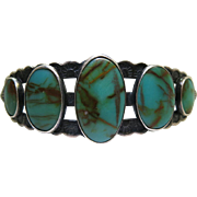 Vintage Navajo Stamped Sterling Silver And Turquoise Cuff Bracelet