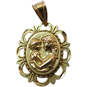 Vintage 14K Gold Double Sided Mother Pendant / Charm With Motto And Lacy Border