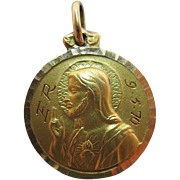 Vintage 14K Yellow Gold Double Sided Christian Religious Medal / Charm 3.7 Grams