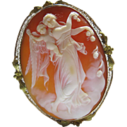 Antique Edwardian 10K Gold Mounted Shell Cameo Pendant Brooch Of Aurora And The Genius Of ...