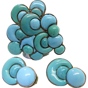 SOLD Whimsical 1930's French Art Deco Enameled Pin And Clip Earrings Set