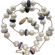 Vintage Freshwater Pearl And Shell Necklace With 14K Clasp