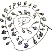 1940's Vintage 40-Inch Sterling Silver Sweetheart Charm Necklace With 37 Heart Charms