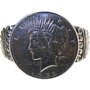 Vintage Navajo Sterling Silver Cuff Bracelet With 1922 Liberty Peace Dollar