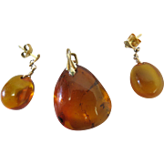Vintage 835 Silver Vermeil And Amber Earrings And Pendant Set