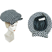 1960's French Vintage Jean Barthet Black And White Houndstooth Hat And Hatpin