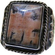 Vintage Navajo Silver And Picture Agate Ring Size 11