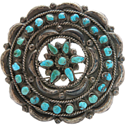 1940's Vintage Navajo Silver Brooch / Pin With Petit-Point And Snake-Eye Turquoise