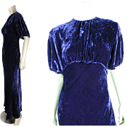 1930's Vintage Bias-Cut Eggplant Purple Silk Velvet Dress With Smocking