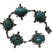 Vintage Mexican Sterling Silver And Art Glass Bracelet By Reygo 8 1/2-Inches Long