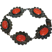 Vintage Mexican Sterling Silver And Coral Art Glass Bracelet By Reygo 9-Inches Long