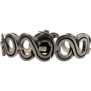 Heavy And Beautifully Designed 1970's Mexican Sterling Silver Bracelet