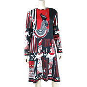 Graphic Circa 1970 Vintage Paganne Jersey Dress With Figural Egyptian Print Size 18