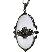 Lovely Art Deco Period German Rock Crystal, Marcasite And Sterling Silver Pendant Necklace.