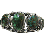Vintage Navajo Silver Cuff Bracelet With Exceptional Semi-Translucent Turquoise