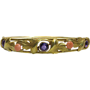 SOLD Antique 14K Yellow Gold Art Nouveau Hinged Bangle Bracelet With Amethyst And Coral By All
