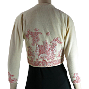 Vintage Helen Bond Caruthers Ivory Cashmere Sweater With Figural Chinese Appliques