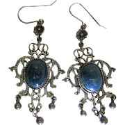 Elegant Antique Arts & Crafts Era 3 1/8-Inch Long Silver Chandelier Earrings With Sodalite Cab