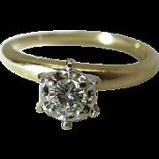 Vintage 14K Yellow Gold Fine .3 Carat Diamond Solitaire Engagement Ring