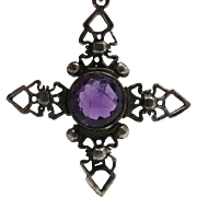 Antique 3-Inch Sterling Silver Barbed Cross With 13 Carat Natural Amethyst