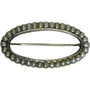 Antique 14K Yellow Gold Cultured Pearl Brooch / Pin