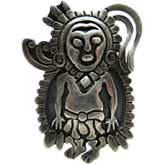 Dramatic Vintage 1940's Francisco Rivera Taxco Mexican Silver Figural Brooch