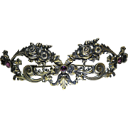 Large And Romantic Antique Victorian Sterling Silver Vermeil And Amethyst Roses Brooch By Will