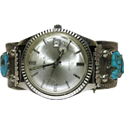 Vintage R. Nastacio Zuni Sterling Silver And Turquoise Watch Cuff Bracelet With Working Benrus
