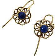 Vintage 14K Yellow Gold Lapis Lazuli Dangle Earrings With French Ear Wires