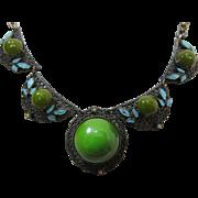 Art Deco Vintage Enameled Necklace With Green Bakelite