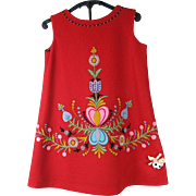 Charming 1960's Vintage Red Felt Girl's Dress With Appliques And Embroidery