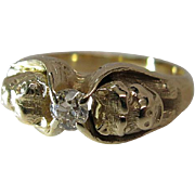 Antique 14K Yellow Gold Diamond Solitaire Ring With Dogs - Dated 1906