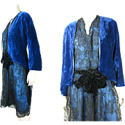 1920's Art Deco Blue Silk And Black Lace Dress With Blue Panne Velvet Jacket