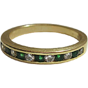 Vintage 14K Yellow Gold Emerald And Diamond Band Style Ring