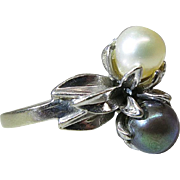 Vintage 14K White Gold Black And White Cultured Pearl Cocktail