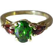 Vintage 14K Yellow Gold Chrome Diopside And Red Tourmaline Ring